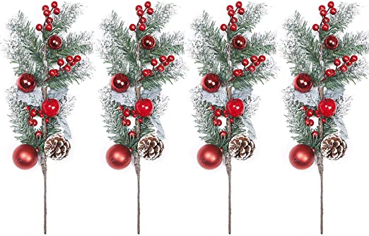 Red Christmas Berries Pine Cones for DIY Crafts Christmas Tree Picks Small Spot Spray Evergreen Artificial Pine Branches Holly Stem for Decoration,Xmas Garland D/écor in Bulk,Wedding/&Party Decor 8 Pcs