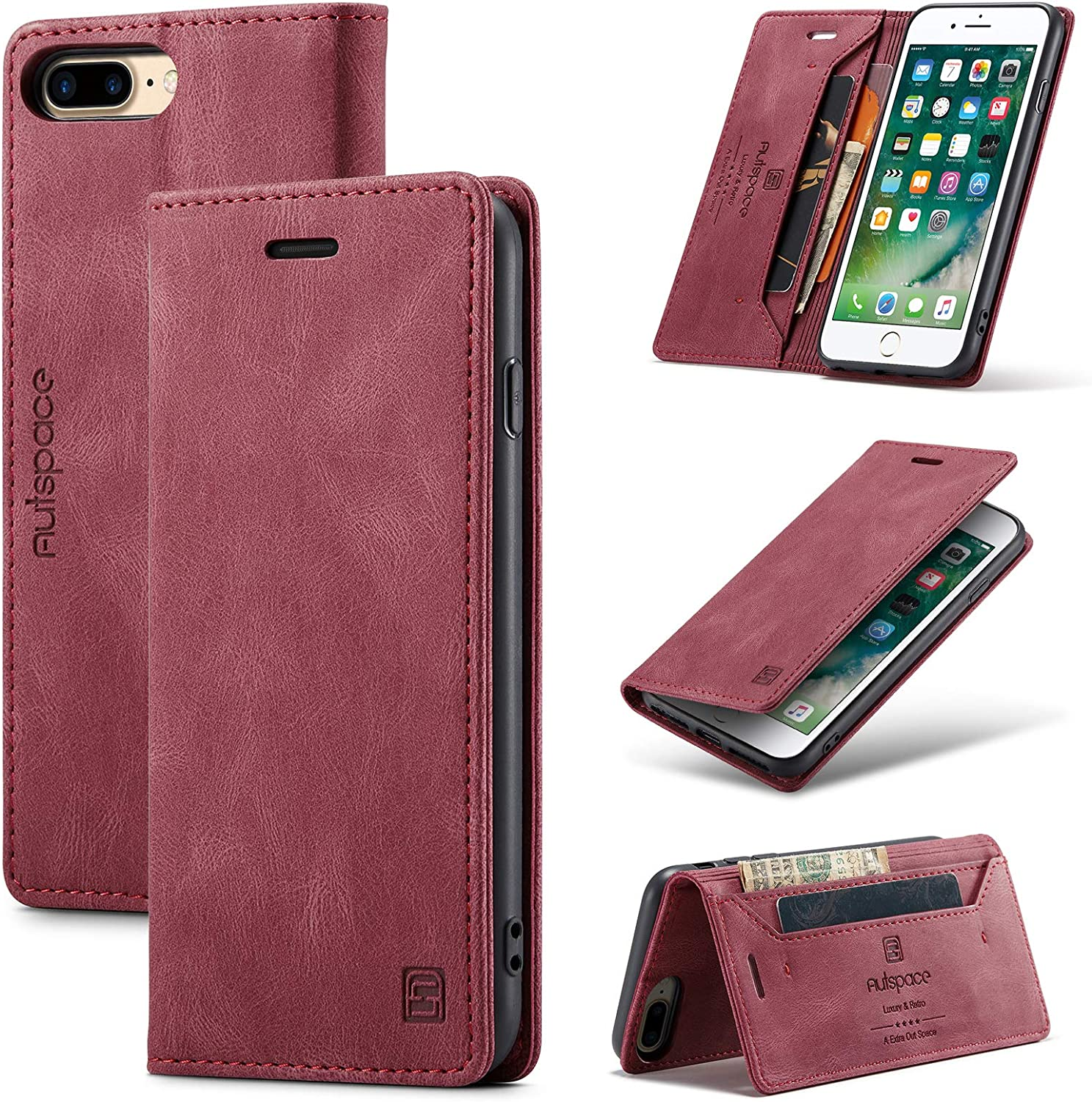 TOHULLE for iPhone 6 Plus 6S Plus iPhone 7 Plus iPhone 8 Plus Case, Vintage Wallet Case Card Holder Kickstand Hidden Magnetic Flip Leather Case for iPhone 6 Plus/6S Plus/7 Plus/8 Plus - Red