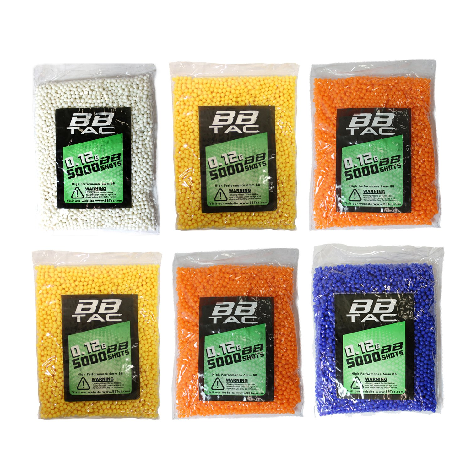 BBTac Airsoft BBs .12g Ammo 6mm (30,000 Round Bag, Multi Colors)