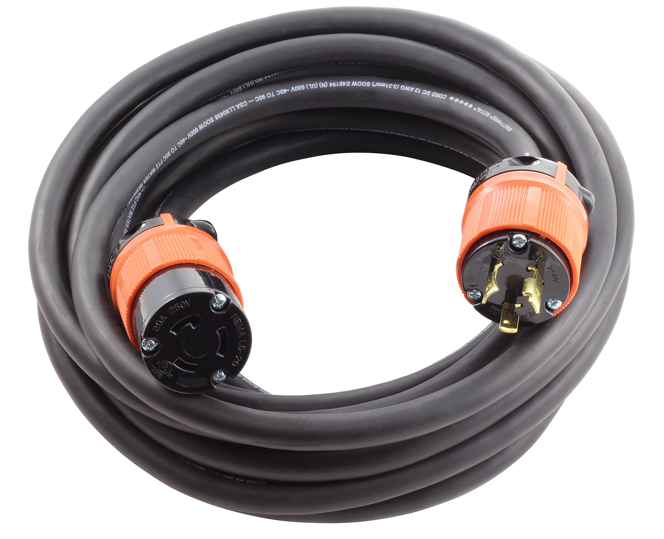 AC WORKS NEMA L6-20 Rubber SOOW 12/3 Locking Extension Cord (10FT)