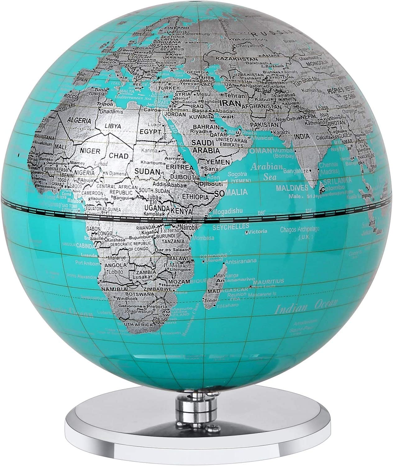 FUN GLOBE World Globe Desktop Geographic Interactive Earth Globes with Music for Kids & Adults for Educational Toys/Office Supplies/Indoor Decorations/Holiday Gift (Sky Blue, 5 Inches)