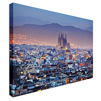 Barcelona Cathedral City Centre Canvas Art Cheap Wall Print Home Interior 20x30 Inches Canvas Art Cheap Wall Print High Quality Classic Style