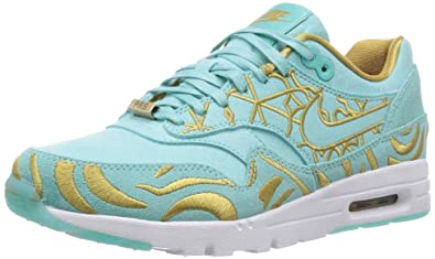 free shipping 90282 f34ac Nike Womens W Air Max 1 Ultra LOTC QS Paris Island Green Flat Gold Fabric