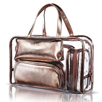 DTBG 5 en 1 Bolso de Maquillaje PVC Bolsa de cosméticos neceser portátil Bolsas de aseo de verano moda Estuches ligera,simple y moda de Organizadores ...