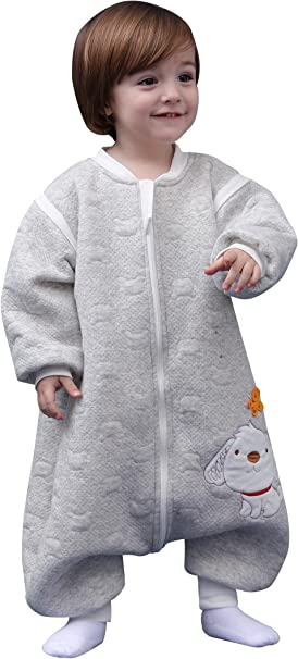 Happy Cherry - Saco de Dormir para Bebés con Pies Mono Entero Pijama de Algodón Suave para Invierno Otoño - Gris - 6-18 Meses: Amazon.es: Ropa y accesorios