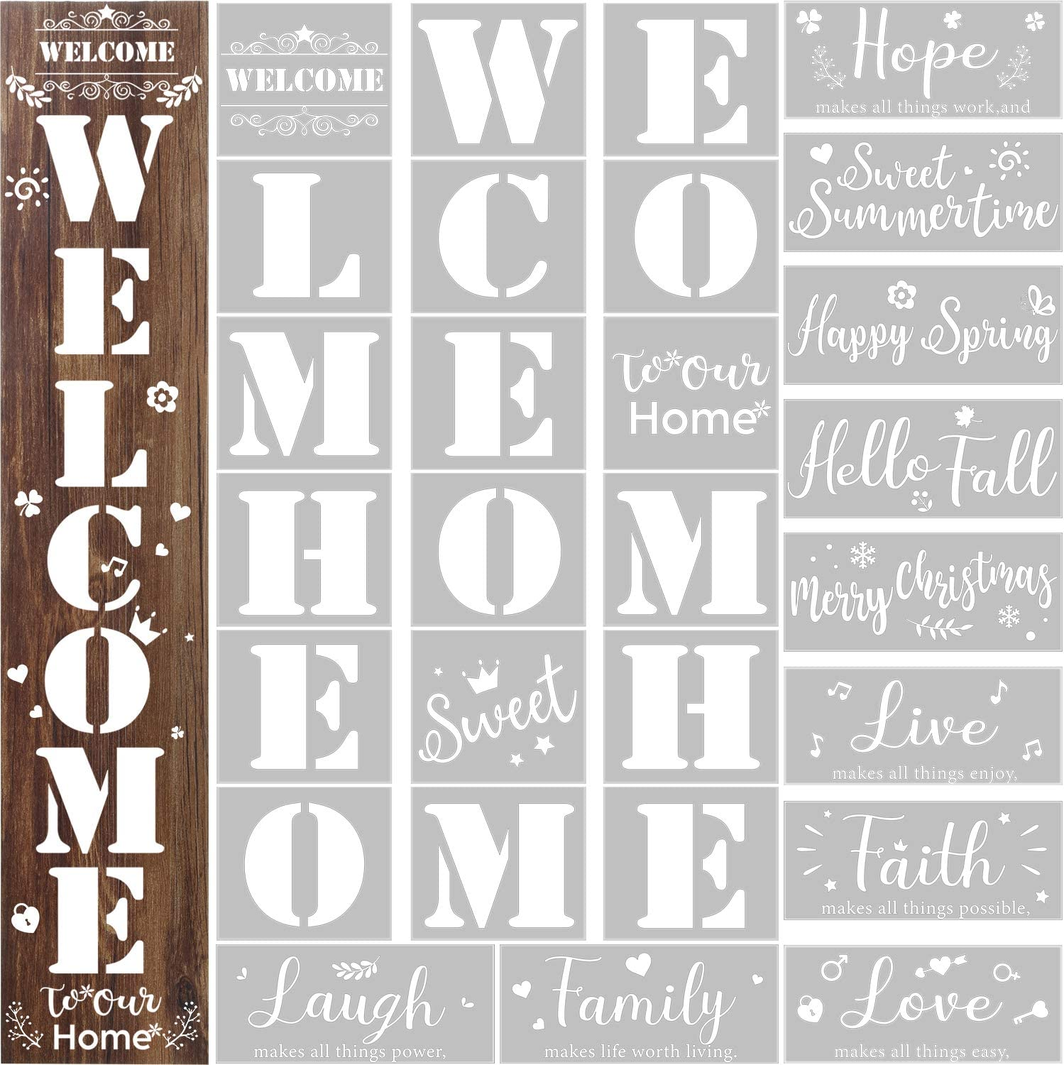 28 Pieces Reusable Large Stencils Templates Painting on Wood Stencils Vertical Welcome Stencil Plastic Symbolic Stencils Seasonal Word Sign Templates for Front Door, Rustic Home Porch DIY Decor