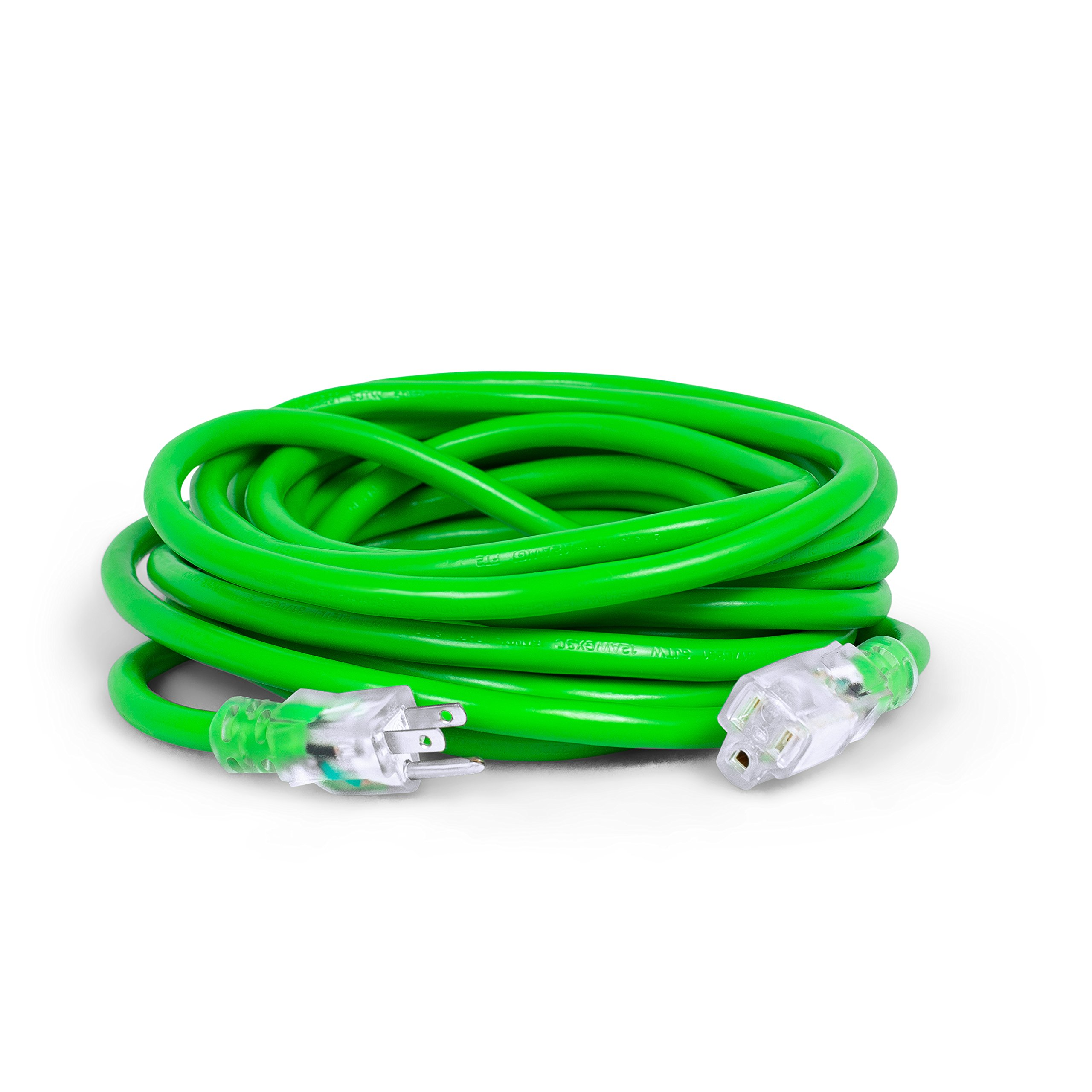 Internet's Best 25 FT Power Extension Cord with LED Lighted Plugs | 12 AWG (Gauge - 12/3) Heavy Duty Outdoor/Indoor Power Extension Cable Cord | NEMA 5-15 R & 5-15P - SJTW | Green