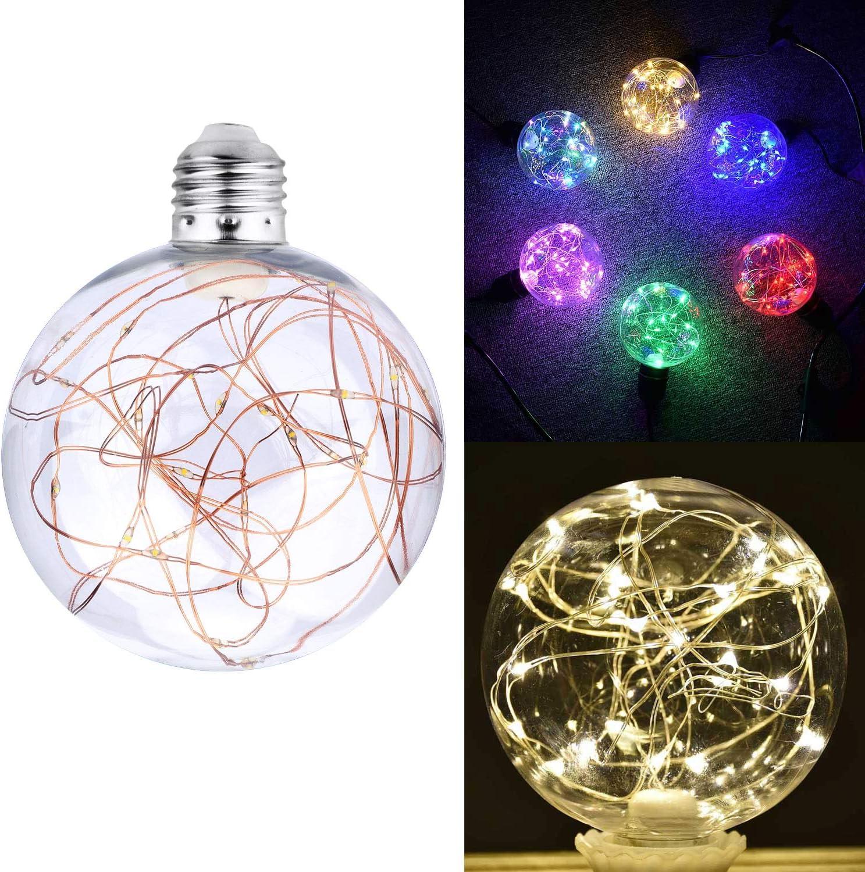 Blanc Chaud KZKR Ampoule D/écorative LED E27 Guirlande Lumineuse Boule Guinguette Bulbe pour No/ël Caf/é Chambre Jardin Maison Int/érieur Ext/érieur C146-WARM