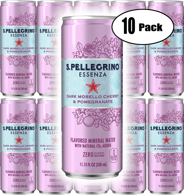 San Pellegrino Essenza Dark Morello Cherry & Pomegranate, 11.15 Fl Oz Can (Pack of 10, Total of 111.5 Fl Oz)