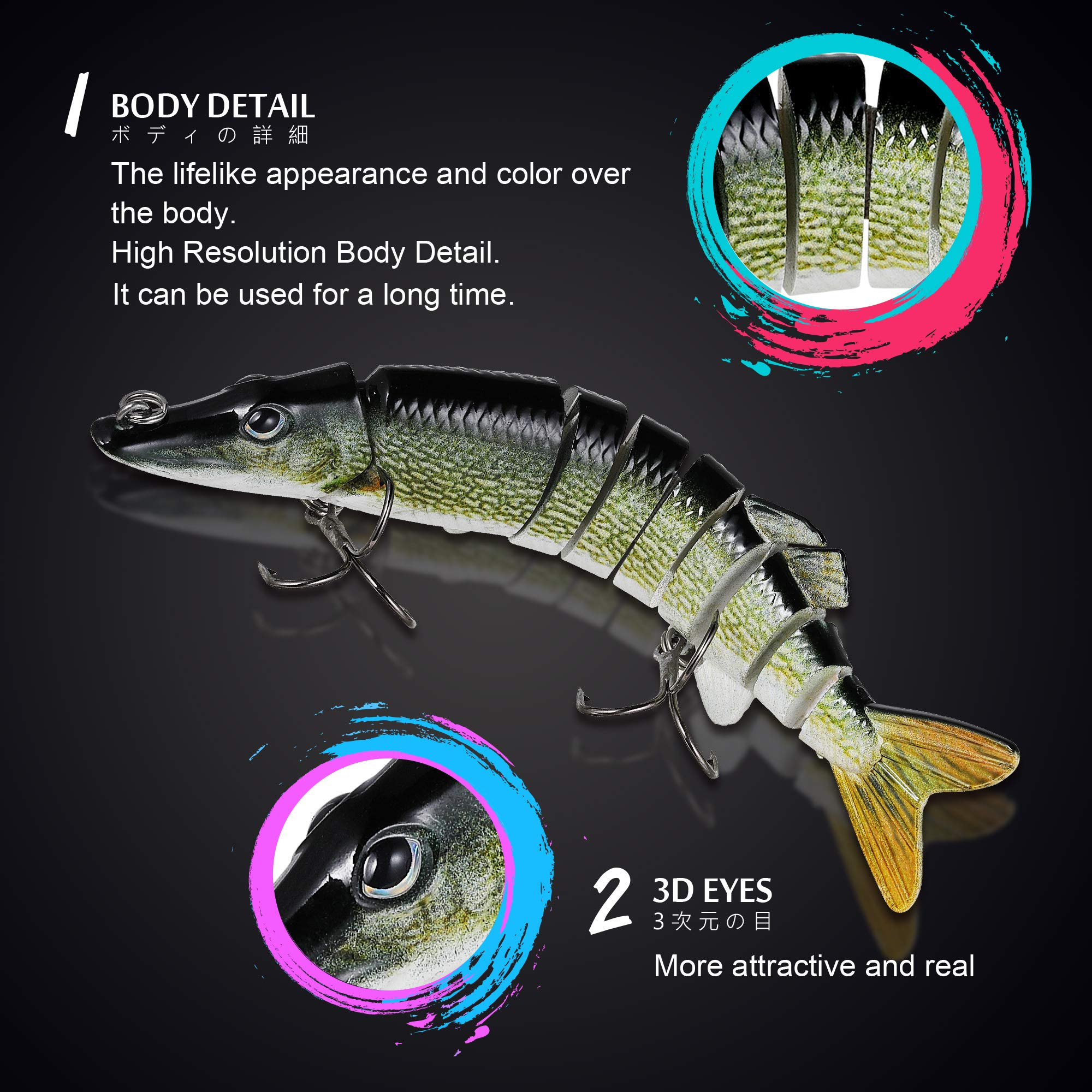 Fishing Lure, Lifelike 9-jointed Pike Muskie lures Swimbait Crankbait Hard Bait Fish Mustad Hook Tackle (Pike color)