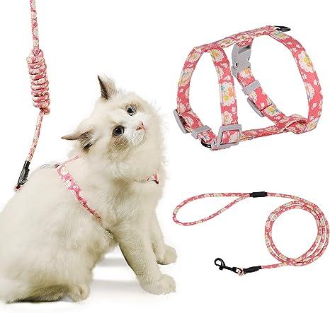 PETTOM Arnes Gato Ajustable Antiescape con Correa Cuerda Redonda Cómodo Seguridad para Pequeño Grande Gato Cachorros para Caminar Viajes (Rosado S)