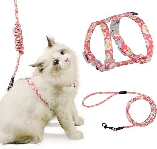 PETTOM Arnes Gato Ajustable Antiescape con Correa Cuerda Redonda Cómodo Seguridad para Pequeño Grande Gato Cachorros para Caminar Viajes (Rosado M): Amazon.es: Productos para mascotas