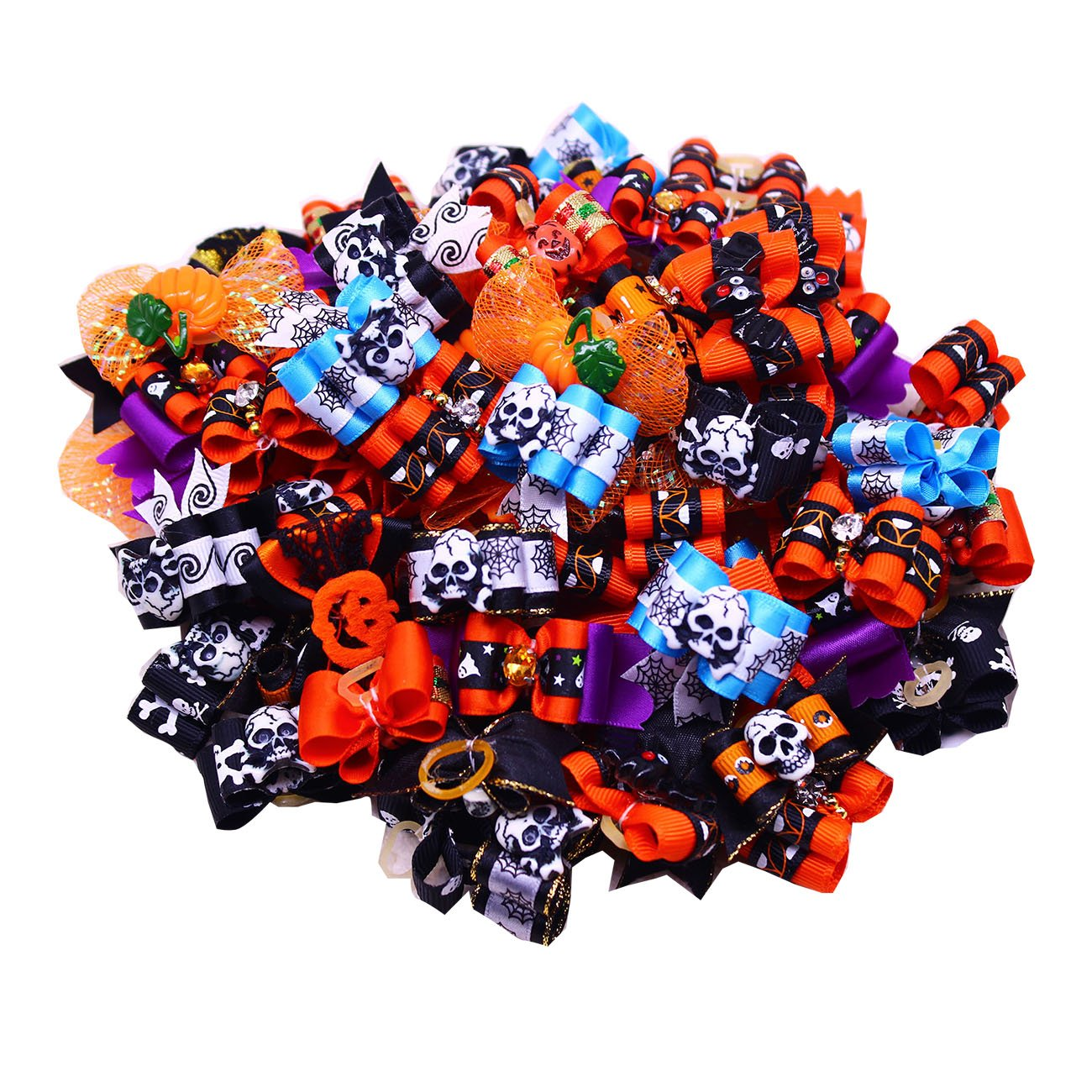Yagopet 50pcs/pack Dog Hair Bows Halloween Styles Mixed Dog Bows for Holidays Rhinestone Centre Pet Dog Grooming Bows Supplies Dog Hair Accessories Free Shipping