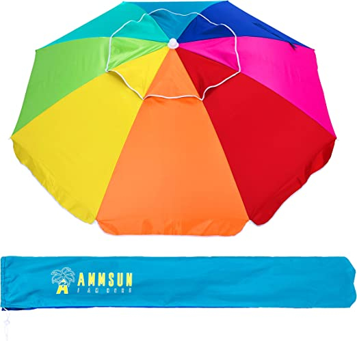 Ammsun Beach Umbrella 6 5ft Air Vented With Tilt Steel Pole Portable Uv 50 Protection Beach Umbrella With Carry Bag For Outdoor Patio Rainbow Garden Outdoor Amazon Com