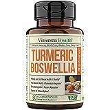 Turmeric Curcumin with BioPerine, Boswellia and Ginger. Advanced Turmeric Combination. Promotes Cartilage Function. Vegan, Gl