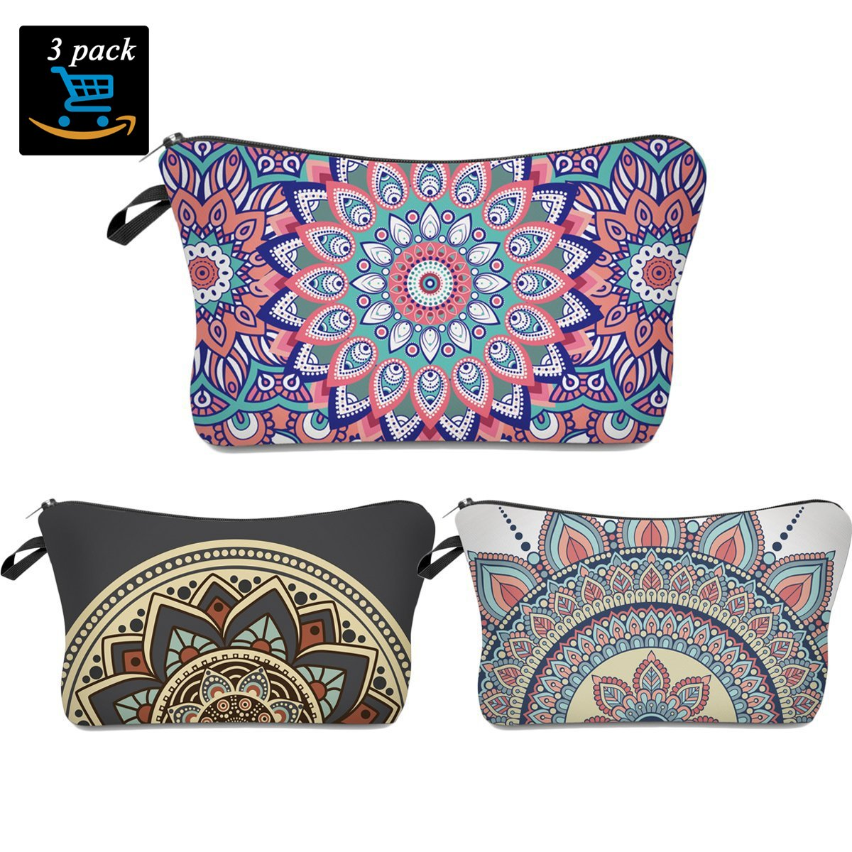 Flower Makeup Bag,Black Deals Friday Cyber Deals Monday Deals-Handy Travel Cosmetic Makeup Clutch Bag Case Pouch Nylon Zipper Carry On Bag for Women Multifuncition Pencil Holder Pouch (Boho 3 Pack)