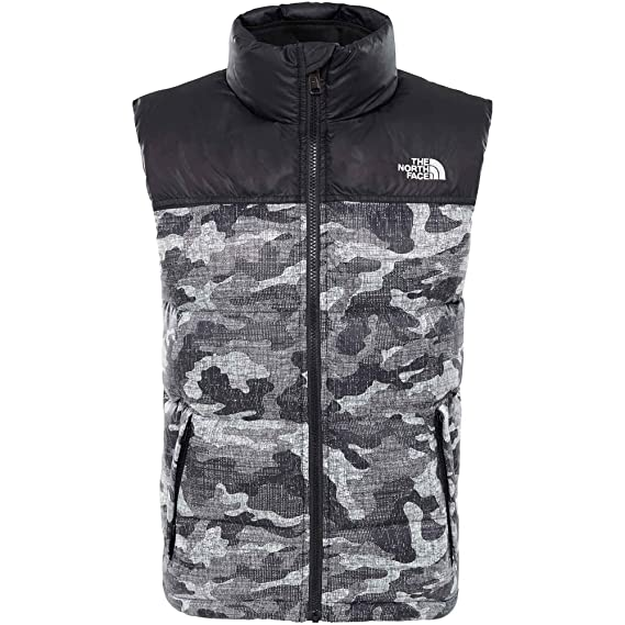 cb0043510 The North Face B Nuptse Down Vest Tnf Blk Textured Camo Prt S (Kids ...