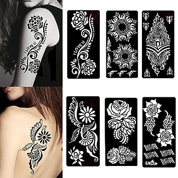 Amazon Com Stencils For Henna Tattoos 6 Sheets Self Adhesive