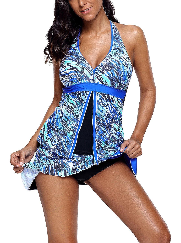 bluee GOSOPIN Women Sexy Flyaway Sport Tankini Set Two Piece Swimsuit Swimwear
