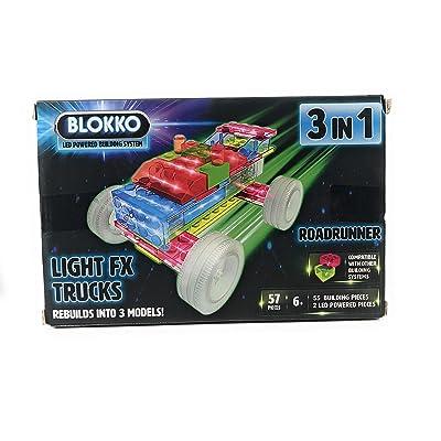 BLOKKO 3 in 1 Light FX Trucks Roadrunner, Multicolor: Toys & Games