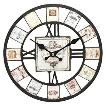 watching clocks modern cut out effect wall clock wine bottle label design