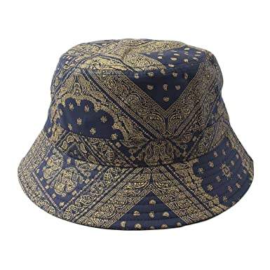 6df8096c08f Bucket Hat Bandana Paisley Pattern for Unisex One Size (PA-1-Navy) at Amazon  Men s Clothing store
