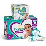 Pampers Cruisers Disposable Baby Diapers Size 4, 160 Count and Baby Wipes Sensitive Pop-