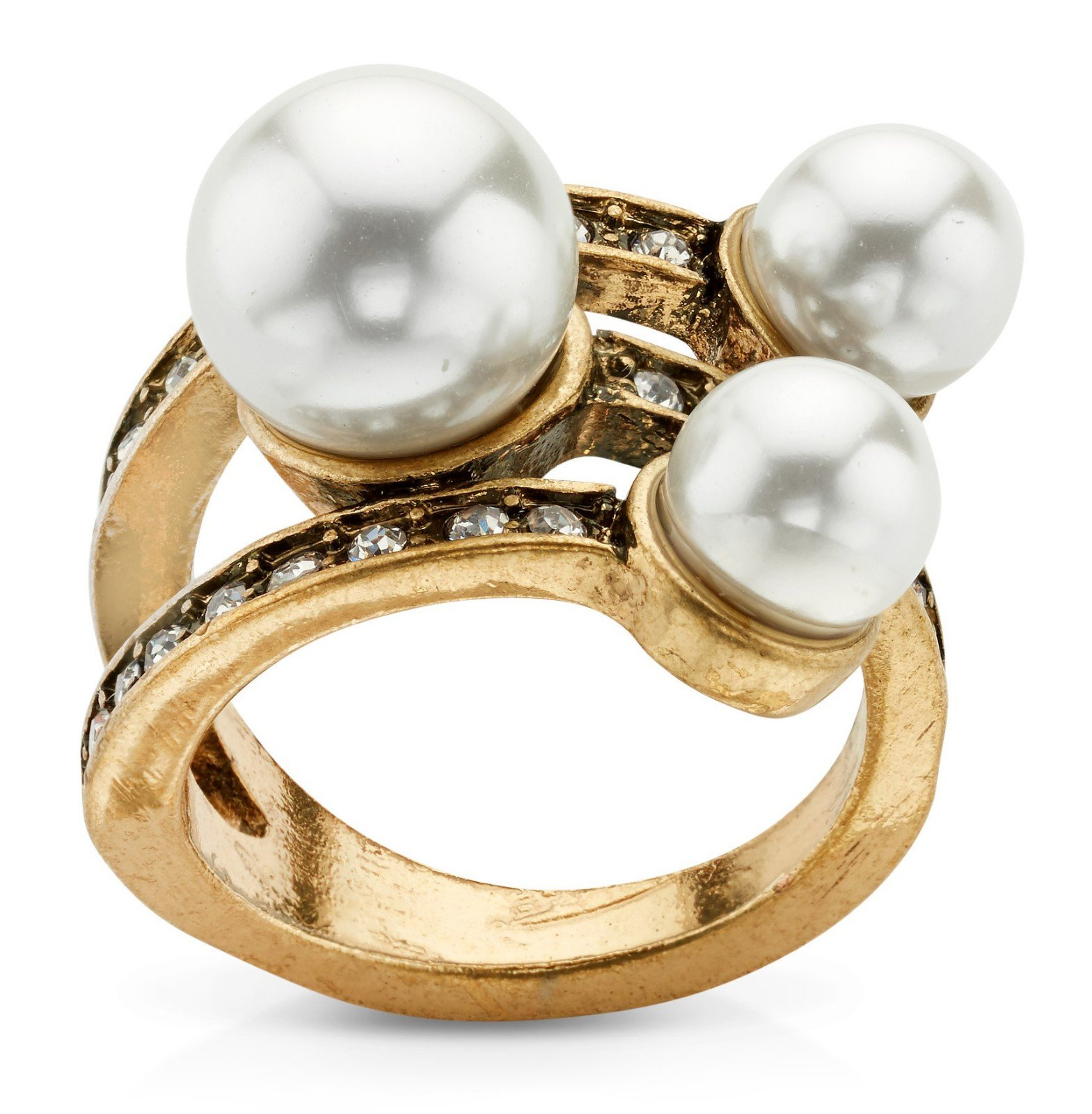 7 Charming Sisters Pearl Gold Plated Crystal Layered Statement Ring Trendy Thank Me When You're Older Ring