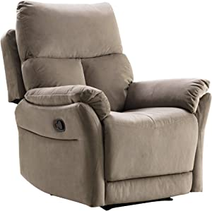 Merax Recliner Chair Lazy Sofa, Manual Ergonomic Design with Overstuffed Armrest, Footrest and Back for Living Room, Light Brown
