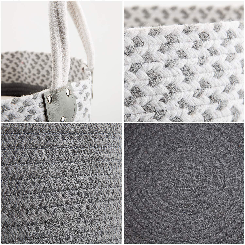 MEELIFE Cesta de Almacenamiento Plegable de Tela de algodón Tweed Cajas de Almacenamiento con Asas, para organizar armarios Ropa Infantil (Grey&White): ...