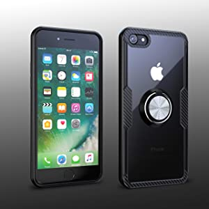 iPhone 7 / iPhone 8 Case | Transparent Crystal Clear Cover | Carbon Fiber Trim & Rubber Bumper | 360° Rotating Magnetic Finger Ring | Kickstand | Compatible with Apple iPhone 7 / iPhone 8 - Black