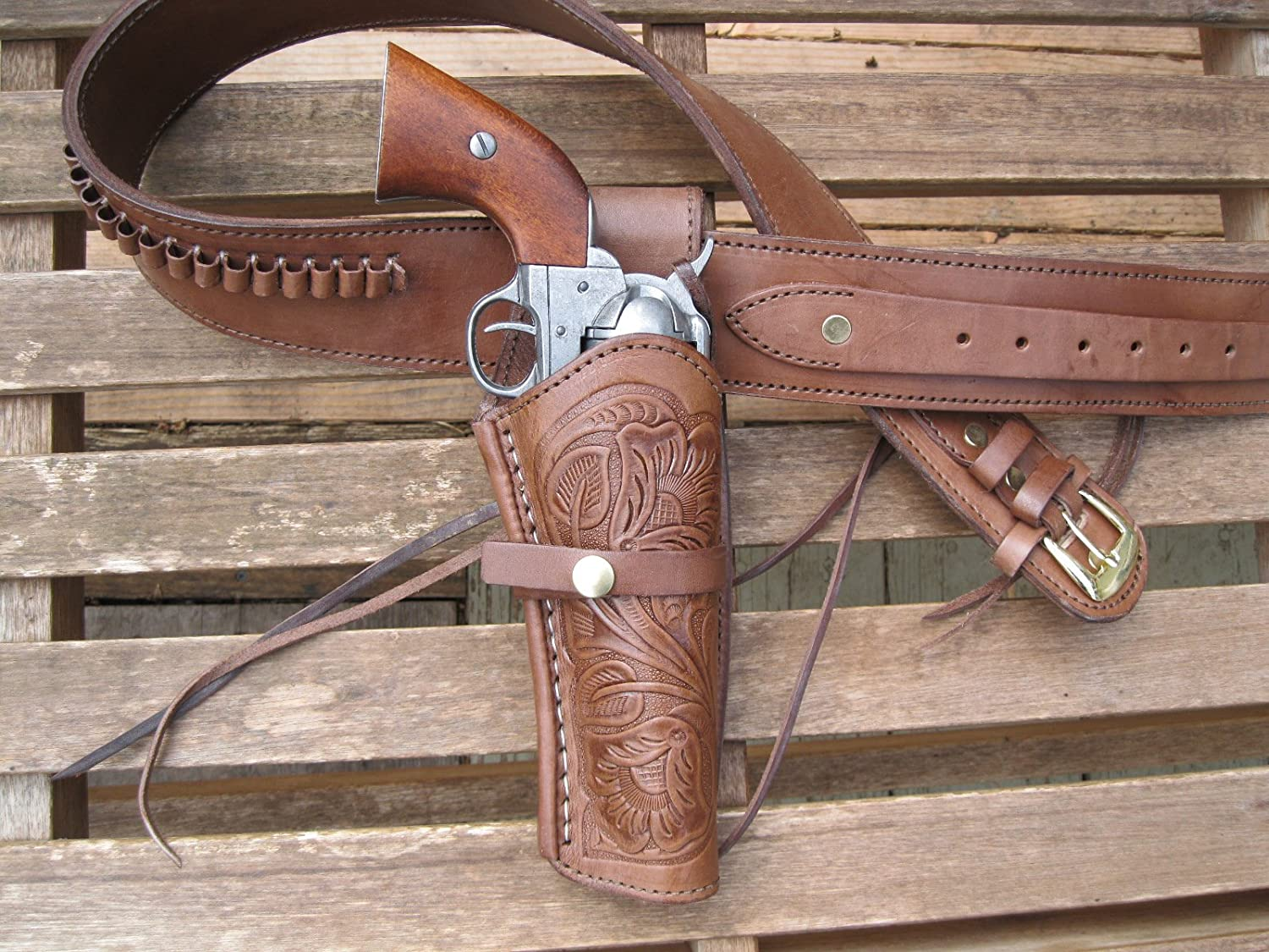 "Tooled Holster Brown Leather .22 Caliber Gun Belt Combo 34/"" to 52/"""