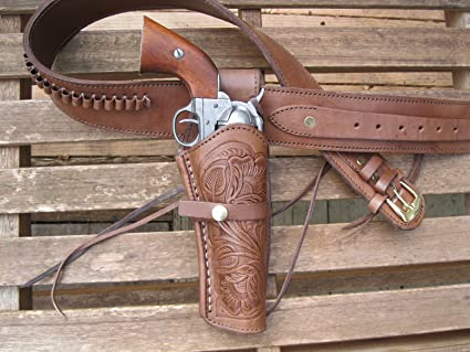 """Sizes 34/"""" to 52/"""" Natural Gun Belt Combo 6/"""" Tooled Holster Leather"""