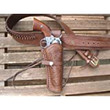 """Gunbelt with 6"""" Right Handed Tooled Holster Combo - 22 Caliber - Leather - Brown"""