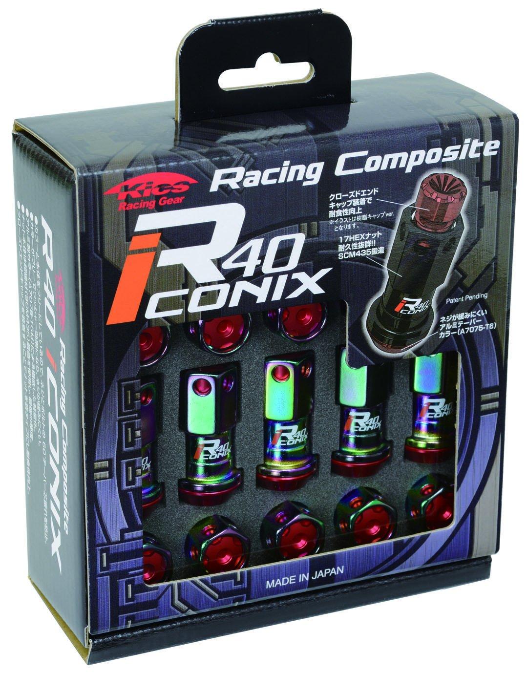 KYO-EI (協永産業) ホイールロックナット Racing Composite R40 iCONIX 【 M12 x P1.5 】 アルミキャップ付 【 ネオクロ/レッド 】 RIA-01NR B00OYSJZP0 レッド レッド