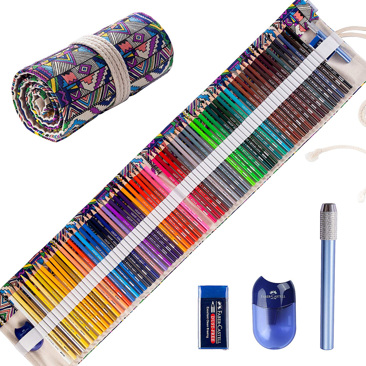 Colored Pencils Set for Adult Coloring Books (72-Count), New and Improved Premium Artist Pencils, Handmade Canvas Pencil Wrap, Extra Accessories, Holiday Gifts, Oil Based Colored Pencil by JOYSTAR