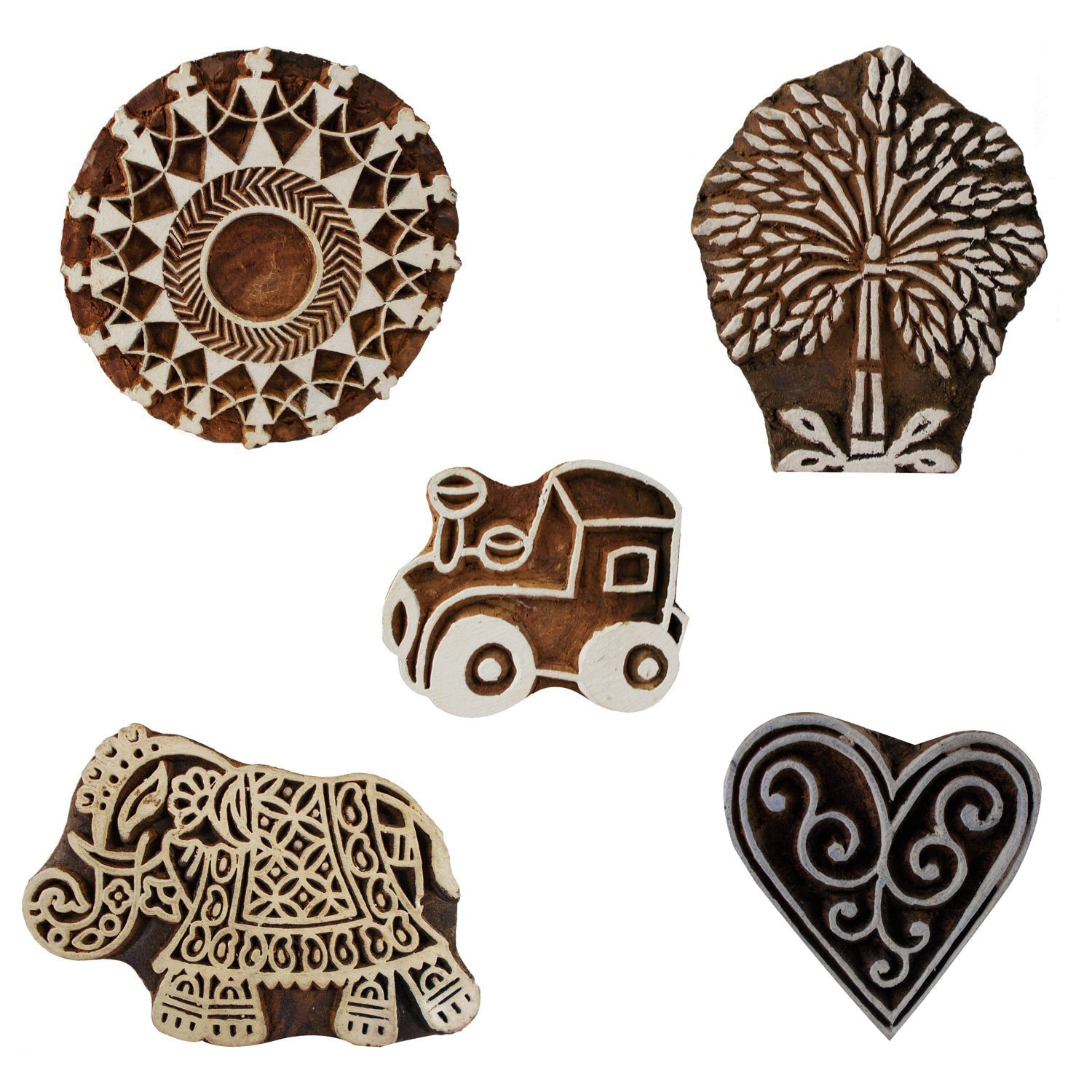 Bunch of 5 Wooden Textile Handmade Car Tree Elephant Floral Printing Block Clay Potter Craft Scrapbook Stamps