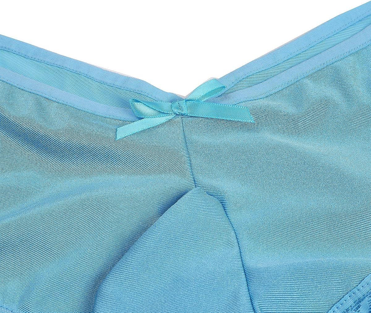 MSemis Men Sissy Satin Panties Underwear Lace Criss Cross Back Bikini Tong Briefs G-String Lingerie