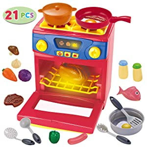 JOYIN 21 Piece Play Kitchen Oven Cooking Pretend Play Toy with Lights & Sounds Play Food Playset, Toy Kitchen Accessories