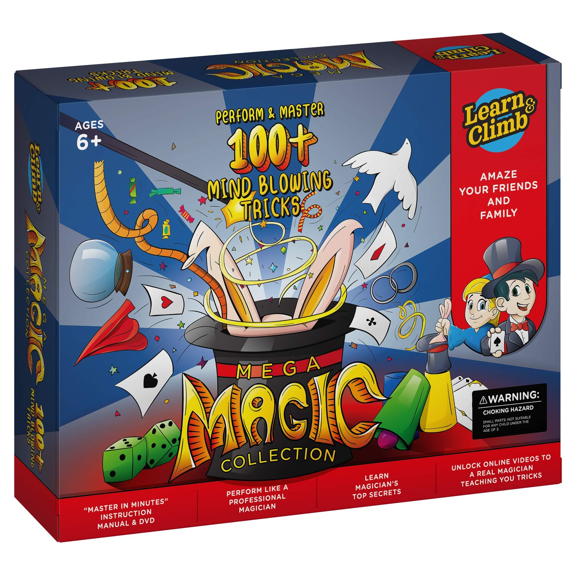 Mega Magic Tricks Set for Kids. Perform Hundreds Today's Most Exciting Tricks. Magic Kit with Instructional DVD by Learn & Climb