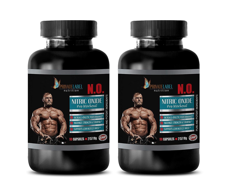 testosterone booster and fat burner for men - fat burner vitamins for men- NITRIC OXIDE PRE WORKOUT - N.O. 2157MG - nitric oxide booster supplements - l arginine l ornithine capsules - 2 Bottles 180 C