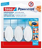 tesa UK Powerstrips Small Hooks with Removable Adhesive Strips Oval - White, 3 Hooks