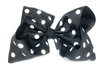 "0143e82edafa4 Image Unavailable. Image not available for. Color  Girls 8"" polka dot  grosgrain hair bow in red"