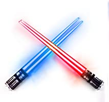 LIGHTSABER CHOPSTICKS LIGHT UP STAR WARS LED Glowing Light Saber Chop Sticks REUSABLE Sushi Lightup Sabers Red and Blue...