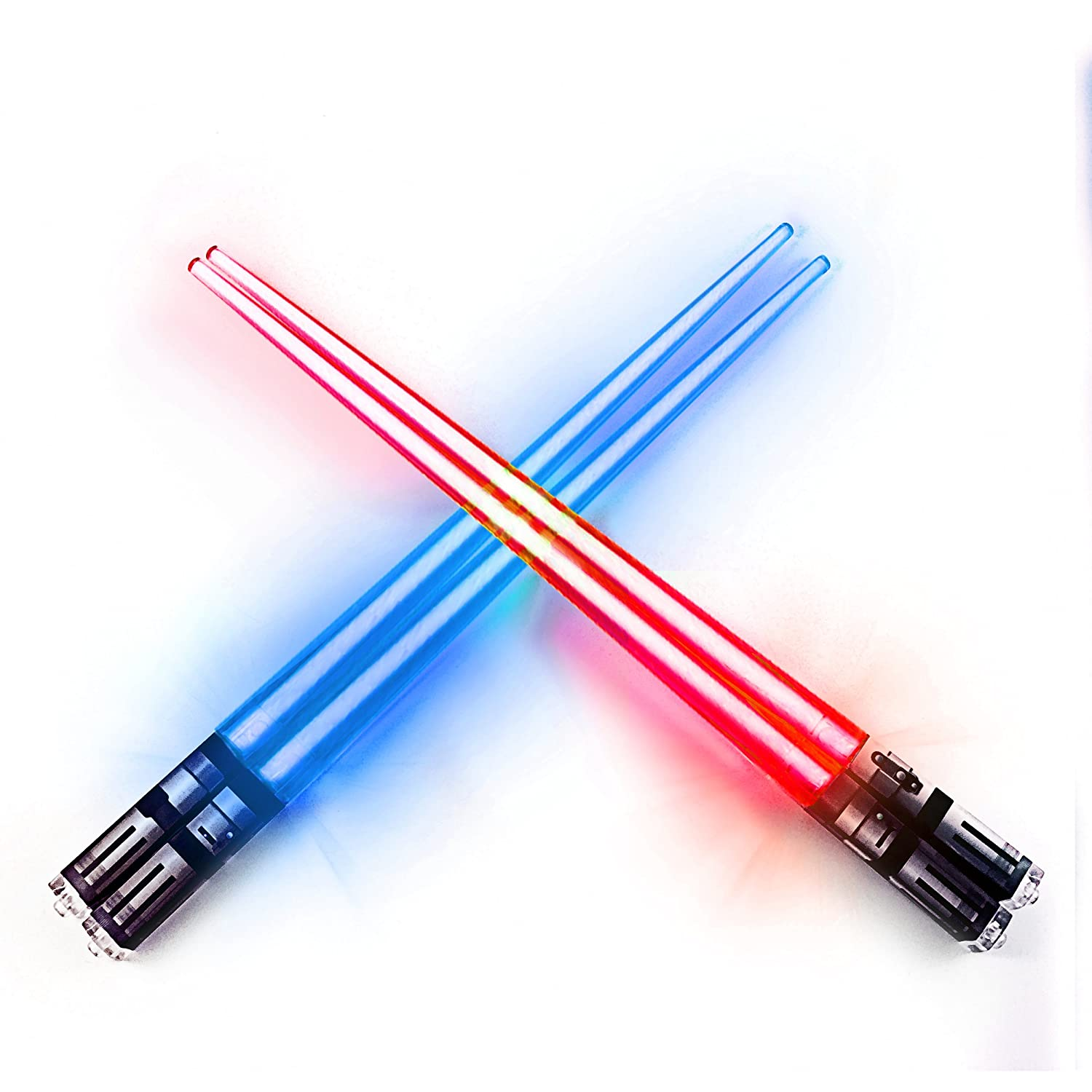LIGHTSABER CHOPSTICKS LIGHT UP STAR WARS LED Glowing Light Saber Chop Sticks REUSABLE Sushi Lightup Sabers Red and Blue 2 Pairs