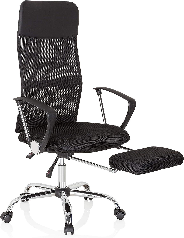 hjh OFFICE 621956 Drehstuhl Pure Relax KunstlederNetz Schwarz Bequemer Home Office Chefsessel mit Fußablage