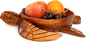 G6 Collection Wooden Handmade Turtle Fruit Decorative Bowl Centerpiece Hand Carved Art Home Decor Decoration Artwork Handcrafted Gift Storage Accent Rustic Wood Serving Bowls Turtle
