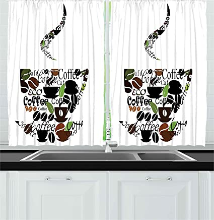 Ambesonne Coffee Decor Collection, Coffee Cup and Steam Pattern Made of  Cups Beans Leaves Lettering Modern Art Print, Window Treatments for Kitchen  ...