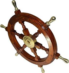 Ship Wheel Ships Steering Wheel Nautical Wheel Wood Wheel Ships Wheel Vintage Nautical Decor Nautical Furniture Nautical Antiques Nautical Art - With Brass Handle (24 Inch)