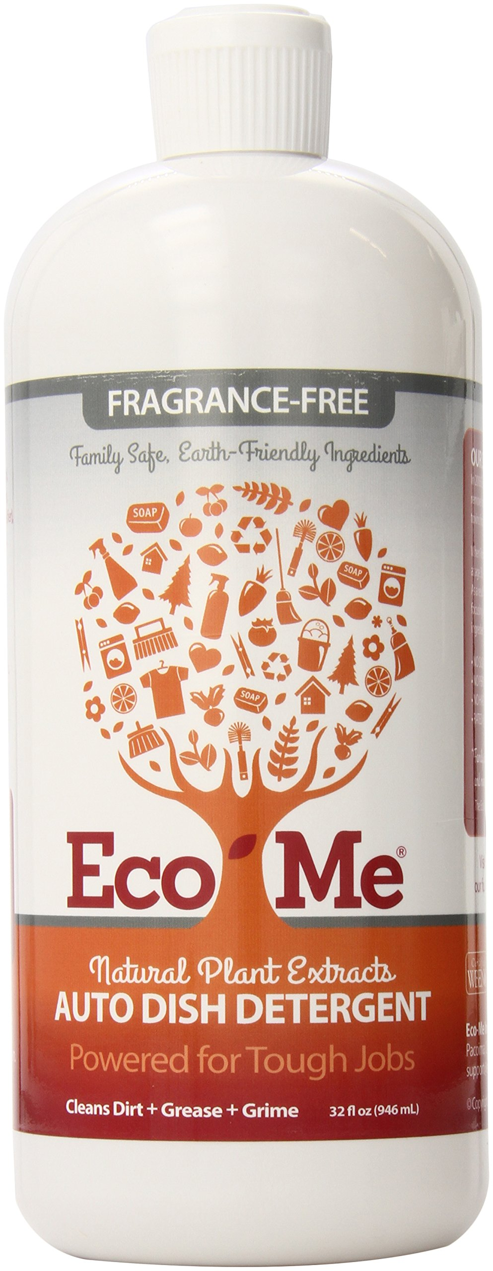 Eco-Me Natural Auto Dish Soap, Fragrance-free, 32 Fluid Ounce